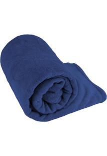 Manta Cobertor Solteiro Fleece Le Casa Lisa 100% Poliéster Azul