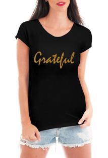 Camiseta Criativa Urbana Grateful Dourada Preto
