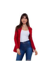 Blazer Acinturado Elegance Feminino Vermelho