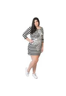Vestido Feminino Mac-Lu Curto Listrado Linha Premium Preto Black Maldivas Com Branco Sophie