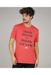 "Camiseta Masculina Esportiva Ace ""Train Insane"" Manga Curta Gola Careca Vermelha"