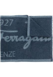 Salvatore Ferragamo Cachecol Bicolor De Lã Com Logo - Azul