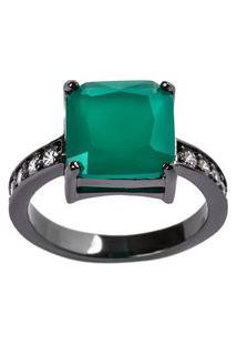 Anel Quadrado The Ring Boutique Pedra Cristal Verde Esmeralda Ródio Negro