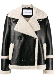 Stand Shearling Lined Jacket - Preto