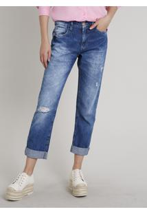 Calça Jeans Feminina Sawary Boyfriend Com Rasgos Azul Escuro