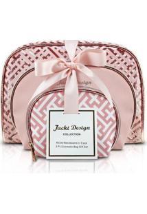 Kit De Necessaire Com 3 Peças Jacki Design - Feminino-Rosa