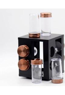 Porta Condimentos Giratório Inox Bronze 8 Peças - Mimo Style - Tricae