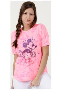 Blusa Feminina Neon Tie Dye Estampa Mickey Disney
