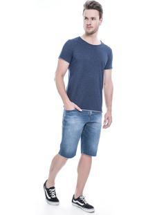 Bermuda Jeans Dialogo Jeans Slim Azul