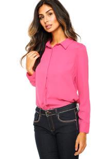 a2b3ff3f9 ... Camisa Manga Longa Seda Aishty Fashion Rosa