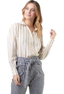 Camisa Mx Fashion Listrada Kate Dourada