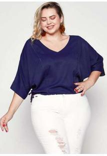 Blusa Almaria Plus Size Pianeta Liso Azul Marinho