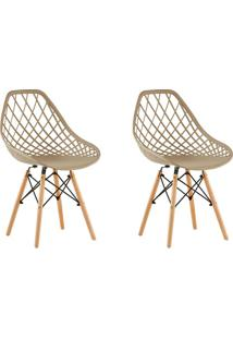 Conjunto Com 2 Cadeiras De Jantar Siberian Eiffel Bege