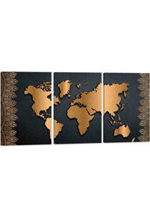 Quadro Mapa Mundi Luxury 60X120Cm Decoração Escritórios Salas Empresas Oppen House