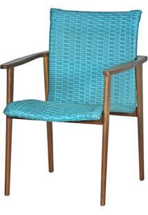 Cadeira Pierre Assento Revestido Fibra Cor Piscina Com Base Madeira Cumaru - 44717 - Sun House