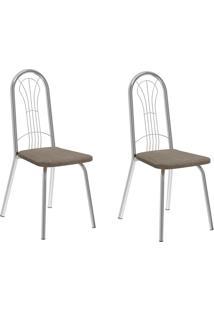 Kit 2 Cadeiras 182 Camurça Conhaque/Cromado - Carraro Móveis