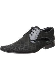 Sapato Malbork Em Couro Verniz E Nobuck Estampado 447 Preto