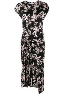 Paco Rabanne Vestido Midi Sakura Com Estampa De Flor De Cerejeira - Preto