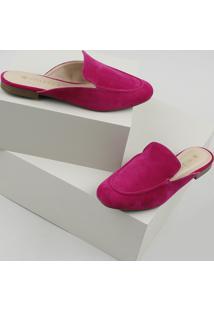 Mule Feminino Via Uno Bico Redondo Em Suede Pink