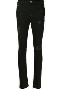 Philipp Plein Statement Slim-Fit Jeans - Preto