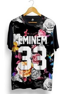 Camiseta Bsc Eminem 33 Hummingbird Dark Flowers Full Print - Masculino-Preto