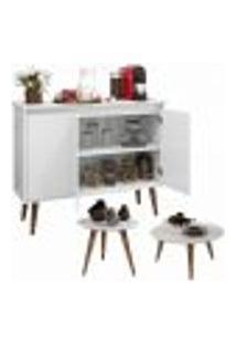 Aparador Buffet Retrô 3 Portas Luxo Com Kit De Mesa Cissa - Branco - Ej Móveis