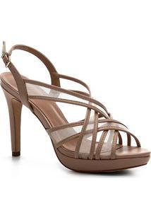 Sandália Shoestock Couro Tela Meia Pata - Feminino-Nude