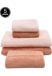 Jogo De Banho 5Pçs Karsten Gigante Cotton Class Rosa