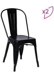 Or Design Jogo De Cadeiras De Jantar Retrã´ Preto 2Pã§S