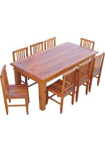Conjunto Mesa De Jantar Madeira De Demolição 2M Com 8 Cadeiras Mineira Ripada Sem Pátina