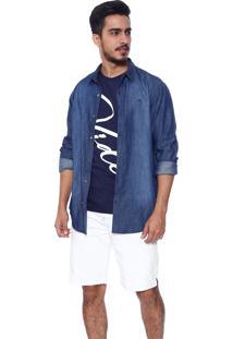 Bermuda Vide Bula Básica Jeans Com Detalhe Lateral Branco