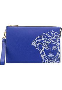 Versace Medusa Leather Clutch Bag - Azul