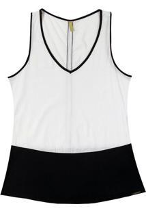 Blusa Com Decote V Em Tecido Branco