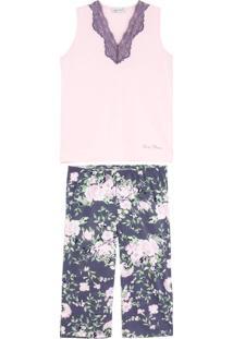 Pijama Feminino Lua Cheia Regata Pescador Floral