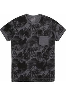 Camiseta Masculina Folhas Mescla Grafite