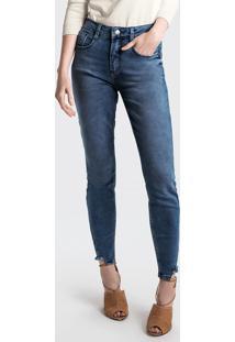 1bcd58d5b Calça Dzarm Jeans Poliester feminina. Calça Skinny Em Jeans Com Cintura  Média Alta