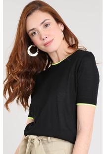 Blusa Feminina Bicolor Em Tricô Manga Curta Decote Redondo Preta