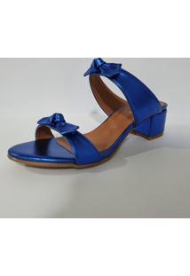 Sandália Delazari Salto Bloco Azul Metalizado Com Laço