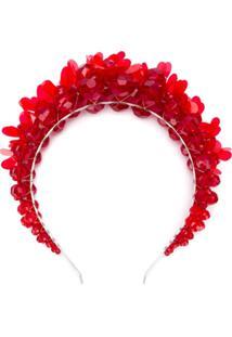 Simone Rocha Acessório De Cabelo Com Aplicação Floral - Vermelho