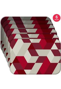 Jogo Americano Love Decor Wevans Red Geometric Kit Com 6 Pçs