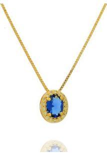 Colar Dona Diva Semi Jóia Princesa Oval Feminino - Feminino-Dourado+Azul
