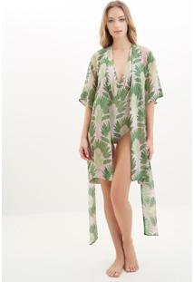 Kimono Rosa Chá Clara Fan Beachwear Seda Estampado Feminino (Estampado, M)