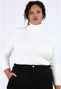 Blusa De Tricô Feminina Plus Size Canelada Manga Longa Gola Alta Off White