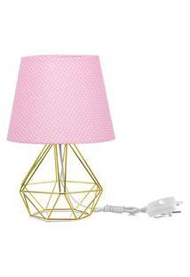 Abajur Diamante Dome Rosa/Bolinha Com Aramado Dourado