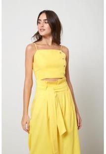 Blusa Cropped Oh, Boy! Botões Laterais Feminina - Feminino-Amarelo