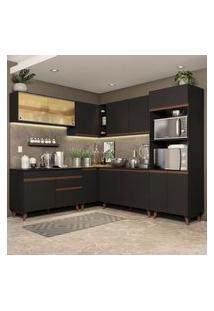 Cozinha Completa De Canto Madesa Reims 452001 Com Armário E Balcão Preto Preto