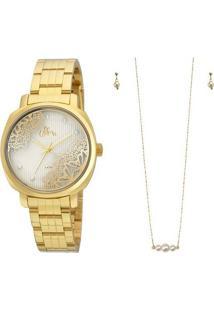 Kit Relógio Allora Al2035Fgi/K4K - Feminino-Dourado