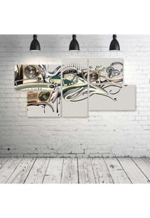 Quadro Decorativo - Music-Old-School - Composto De 5 Quadros