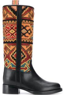 Etro Ankle Boot Com Padronagem Geométrica - Preto