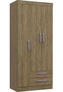 Guarda Roupa Solteiro 3 Portas 2 Gavetas Ambar Decibal Moveis Wood - Tricae